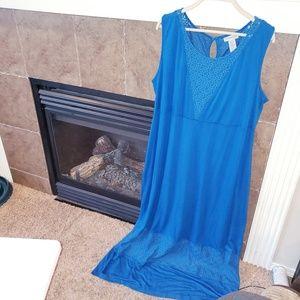 CATHERINES LONG BLUE SLEEVELESS MAXI DRESS EUC!